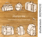 vector sketch set of vintage... | Shutterstock .eps vector #302904152