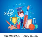 cute school children. school... | Shutterstock .eps vector #302916836