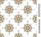 vintage brown nautical compass...   Shutterstock .eps vector #302929322
