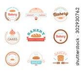 set of bakery logos  labels ... | Shutterstock .eps vector #302930762