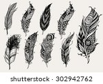 set of hand drawn rustic... | Shutterstock .eps vector #302942762