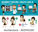 correct and incorrect posture.... | Shutterstock .eps vector #302943182