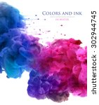 acrylic colors and ink in water.... | Shutterstock . vector #302944745