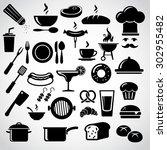 restaurant icon set. | Shutterstock . vector #302955482