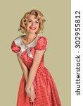 young beautiful caucasian woman ... | Shutterstock . vector #302955812