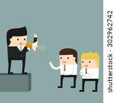 businessman delivers a speech... | Shutterstock .eps vector #302962742