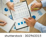 businessmen are analyzing the... | Shutterstock . vector #302963315