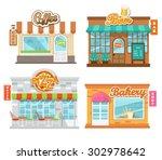 vector illustration  flat cafes ...   Shutterstock .eps vector #302978642