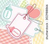 baby shower greeting card for...   Shutterstock .eps vector #302988866