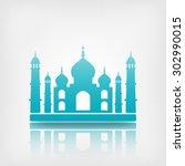 taj mahal on white background.... | Shutterstock .eps vector #302990015