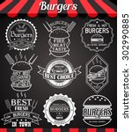 white set burger icons  labels  ... | Shutterstock .eps vector #302990885