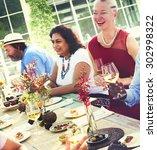 diverse people luncheon food... | Shutterstock . vector #302998322