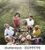 diverse people luncheon... | Shutterstock . vector #302999798