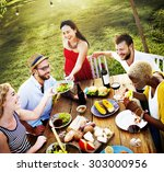 diverse people luncheon food... | Shutterstock . vector #303000956