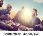 diverse people friends hanging... | Shutterstock . vector #303002162