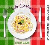 traditional italian cuisine.... | Shutterstock .eps vector #303008186