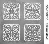 set of vector decorative... | Shutterstock .eps vector #303013922
