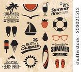 retro summer icon set   Shutterstock .eps vector #303021512