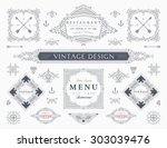 set of vintage decorations... | Shutterstock .eps vector #303039476