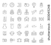set of modern flat linear... | Shutterstock .eps vector #303045248