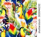 watercolor parrots seamless...   Shutterstock . vector #303046232