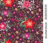 seamless floral pattern on dark ... | Shutterstock .eps vector #303050555