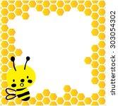 cute bee vector with honeycombs ... | Shutterstock .eps vector #303054302