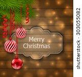 illustration christmas label... | Shutterstock . vector #303055082