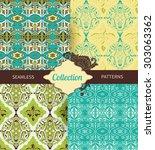 set vintage seamless pattern... | Shutterstock .eps vector #303063362