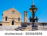 Church And Fountain In Rhodes...