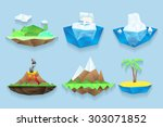 poly islands set. sea and water ... | Shutterstock . vector #303071852