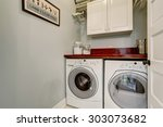 small laundry room with tile... | Shutterstock . vector #303073682