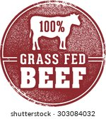 100  grass fed beef meat stamp | Shutterstock .eps vector #303084032