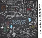 back to school supplies sketchy ... | Shutterstock .eps vector #303088676