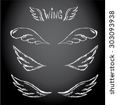 vector doodle wings set. angel... | Shutterstock .eps vector #303093938