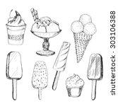 ice cream. set of graphic hand...   Shutterstock .eps vector #303106388
