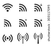 set of wi fi and wireless icons.... | Shutterstock . vector #303117095