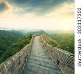 the majestic great wall ... | Shutterstock . vector #303117302