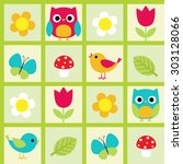 seamless pattern with birds and ... | Shutterstock . vector #303128066