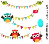 set of colorful and bright... | Shutterstock . vector #303128126
