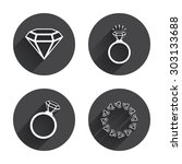 rings icons. jewelry with shine ... | Shutterstock .eps vector #303133688