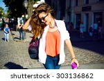summer sunny lifestyle fashion... | Shutterstock . vector #303136862