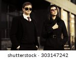young fashion business couple... | Shutterstock . vector #303147242