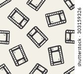 doodle film seamless pattern... | Shutterstock .eps vector #303159326