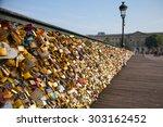 Love Locks On Arts Bridge  Paris