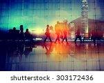 commuter travel business people ... | Shutterstock . vector #303172436
