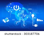 man with brain power  100 ... | Shutterstock .eps vector #303187706