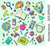 collection of school subjects.... | Shutterstock .eps vector #303189635