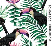 toucan and tropical plants...   Shutterstock .eps vector #303190406