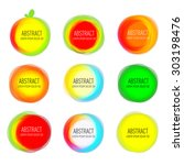 set of round colorful vector... | Shutterstock .eps vector #303198476